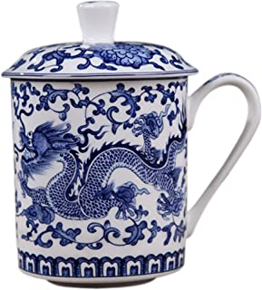 BandTie Convenient Travel Home Office Chinese Gongfu Loose Leaf Tea/Coffee Brewing System- Bone China Porcelain Tea Cup/Coffee Cup/Tea Mug/Coffee Mug Personal Teacup with Tea Cup Lid,Blue Dragon