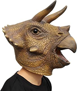 PartyHop - Triceratops Mask - Halloween Latex Animal Head T-Rex Jurassic Dinosaur Mask