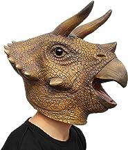 PartyCostume - Triceratops Mask - Halloween Latex Animal Head T-Rex Jurassic Dinosaur Mask