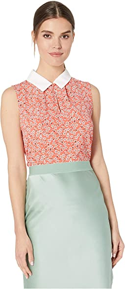 870e801249c 10. CeCe. Sleeveless Sakura Delight Collared Blouse