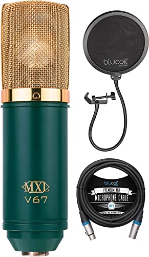 new arrival MXL V67G Large Capsule Condenser Microphone for Vocals, Guitars, Acoustic Instruments, and Drum Overheads Bundle online sale online with Blucoil 10-FT Balanced XLR Cable, and Pop Filter Windscreen online