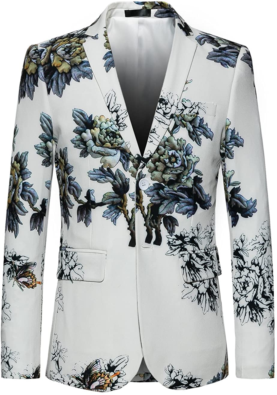 MOGU Mens Slim Fit Floral White Blazer