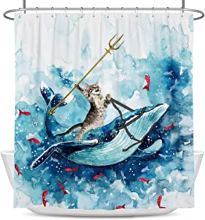 Coxila Funny Cat Shower Curtain 60x72 inch Cute Animal Riding Whale Ocean Wave Fish Hilarious Bathroom Curtain Polyester F...