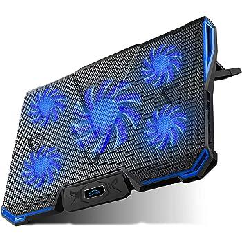 """Carantee - Almohadilla de enfriamiento para computadora portátil (alimentado por USB, 7 niveles), Azul, 12""""-17"""""""