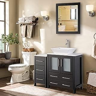 Vanity Art 36 inch Single Sink Bathroom Vanity Combo Set 5-Drawers, 1-Shelf, 2 Cabinet White Quartz Top and Ceramic Vessel Sink Bathroom Cabinet with Free Mirror - VA3124-36-E