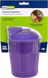 Ezy Dose Vitamin Organizer | 6 Large Compartments for Monthly, 30-Day Storage | Assorted Colors