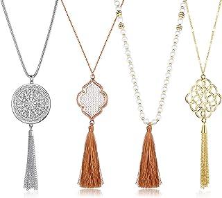 LOLIAS 4PCS Long Tassel Pendant Necklaces for Woman Knot Disk Circle Tassel Y Necklaces Set
