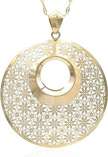 Collana in oro - 14K - Girocollo con pendente rotondo concavo, con motivo floreale. - peso gr 7.10 - lunghezza 49 cm.