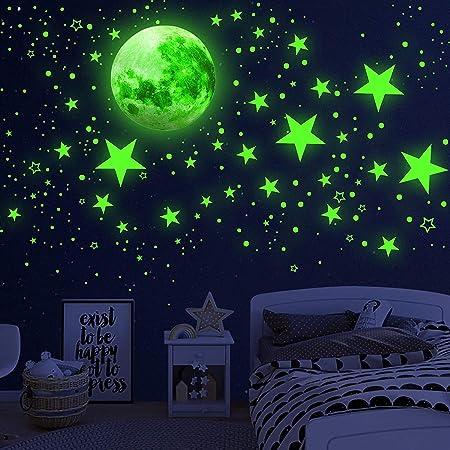 HOSPAOP Leuchtsterne Selbstklebend 197 St/ück Sternenhimmel Aufkleber Einhorn Leuchtsticker Wandtattoo Prinzessin Schlos Leuchtsticker Kinderzimmer f/ür M/ädchen Jungen Geschenke