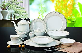 Euro Porcelain 57-pc Banquet Dinnerware Set, Luxury Bone China Tableware, Service for 8