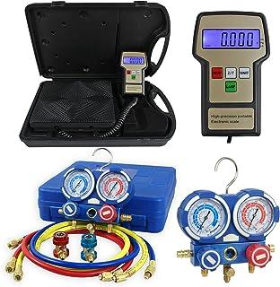 F2C Digital Refrigerant Electronic Charging Scale HVAC AC Manifold Gauge Set R134a