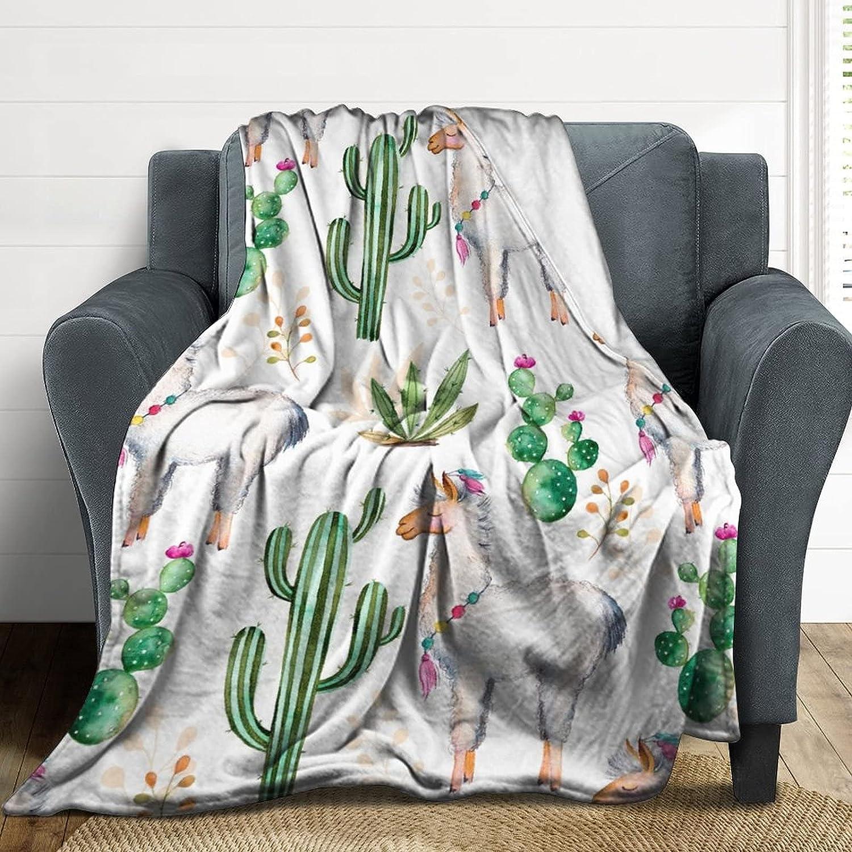 KOEUMDH Llama Fleece Blanket Ranking TOP1 Kids Watercolor Alpaca 100% quality warranty! Light Adults