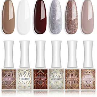 Gel Nail Polish Nude Brown White Silver Gold Glitter Gel Polish 6 PCS 10ML Soak Off Nail Gel Polish Home Use Valentines Be...