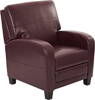 INSPIRED by Bassett Wellington Bonded Leather Recliner with Antique Bronze Nailhead Accents, Cocoa