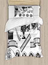 Ambesonne Movie Theater Duvet Cover Set, Movie Industry Themed Greyscale Illustration of Projector Film Slate and Reel, Decorative 2 Piece Bedding Set with 1 Pillow Sham, Twin Size, Black Grey