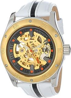 Akribos XXIV Men's AK476YG Premier Skeleton Automatic Retro Leather Strap Watch