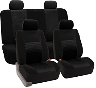 FH Group FH-FB060114 Trendy Elegance Full Set Seat Covers, Airbag Compatible and Split Bench, Black Color- Fit Most Car, Truck, SUV, or Van