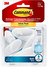 Command 076308728595 Bath Value Pack, Clear Frosted, 6-Hooks, 6-Medium Water Resistant Strips (BATH18-6ES)