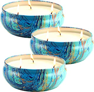 LA JOLIE MUSE Citronella Candles Set 3, Scented Candles Natural Soy Wax Tin, 25-30 Hour Burn, Outdoor and Indoor