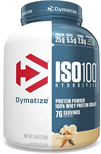 Dymatize ISO 100 Whey Protein Powder with 25g of Hydrolyzed 100% Whey Isolate, Vanilla 5 Pound