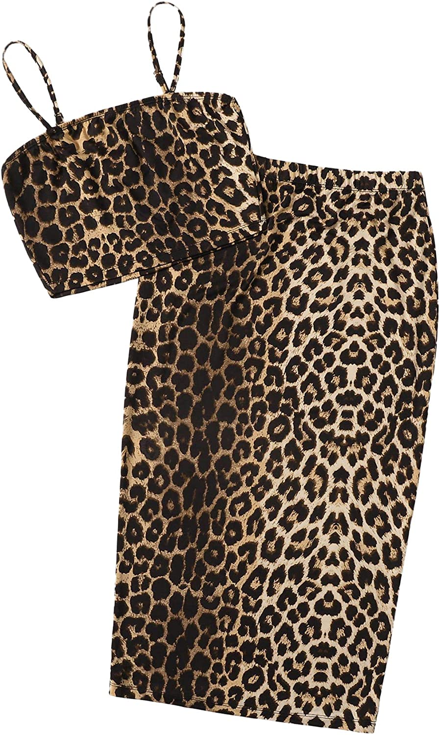 SheIn Women's Sleeveless Leopard Two Pieces Bodycon Skirt and Crop Cami Top Set
