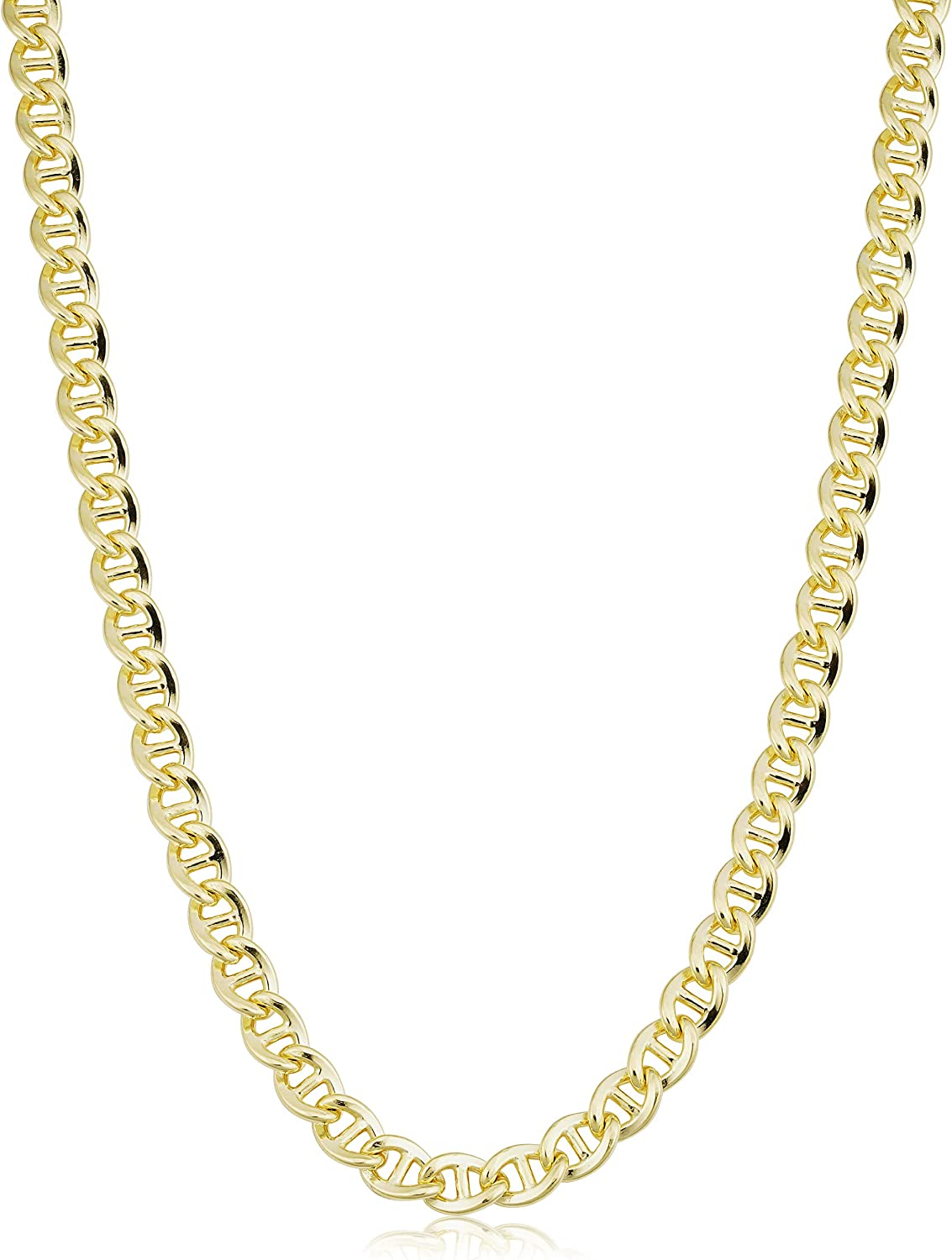 Solid 14k Yellow Gold Filled 6 mm Mariner Link Chain Necklace for Men and Women (18, 20, 22, 24 or 30 inch)