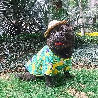 LUCKSTAR Dog Hawaiian T-Shirt, Dog Summer Apparel Clothes, Puppy Cats Breeze Camp Outfits, Pet Luau Costumes for French Bulldog Pug