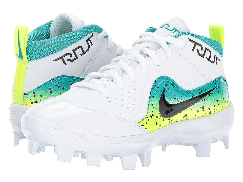 Nike Kids Trout Pro MCS Baseball Cleat (Toddler/Little Kid/Big Kid) (White/Black/Turbo Green/Volt) Boys Shoes