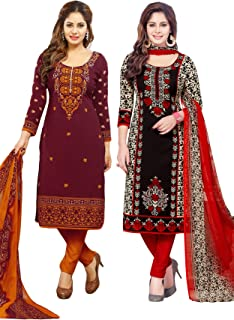 Salwar Studio Women's Pack of 2 Synthetic Unstitched Dress Material Combo-MONSOON-2155-2158