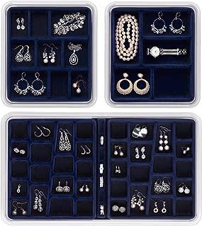 Neatnix Stax Jewelry Organizer Tray, Set of 3, Midnight Blue