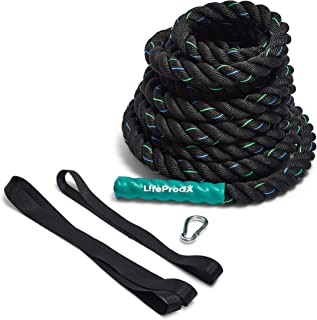 LIFEPRODX Battle Rope with Anchor kit - Weight and Gym Exercise Equipment for Home or Outdoor Fitness Workout - Muscle Building - Cardio Workout - Arm Strength Training and Conditioning