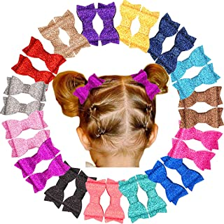 30Pcs Glitter Sparkle Baby Girls Hair Bows Fully lined Hair Clips for Little Girls,Toddlers and Kids (15 Colors in Pairs)