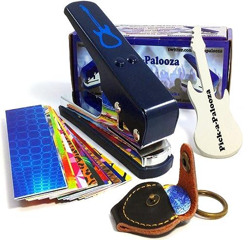 Pick-a-Palooza DIY Guitar Pick Punch Mega Gift Pack - the Premium Pick Maker - Leather Key Chain Pick Holder, 15 Pick...