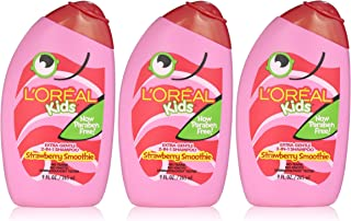 L'Oreal Kids Strawberry Smoothie 2-in-1 Shampoo for Extra Softness, 9 fl. Oz. (Pack of 3)