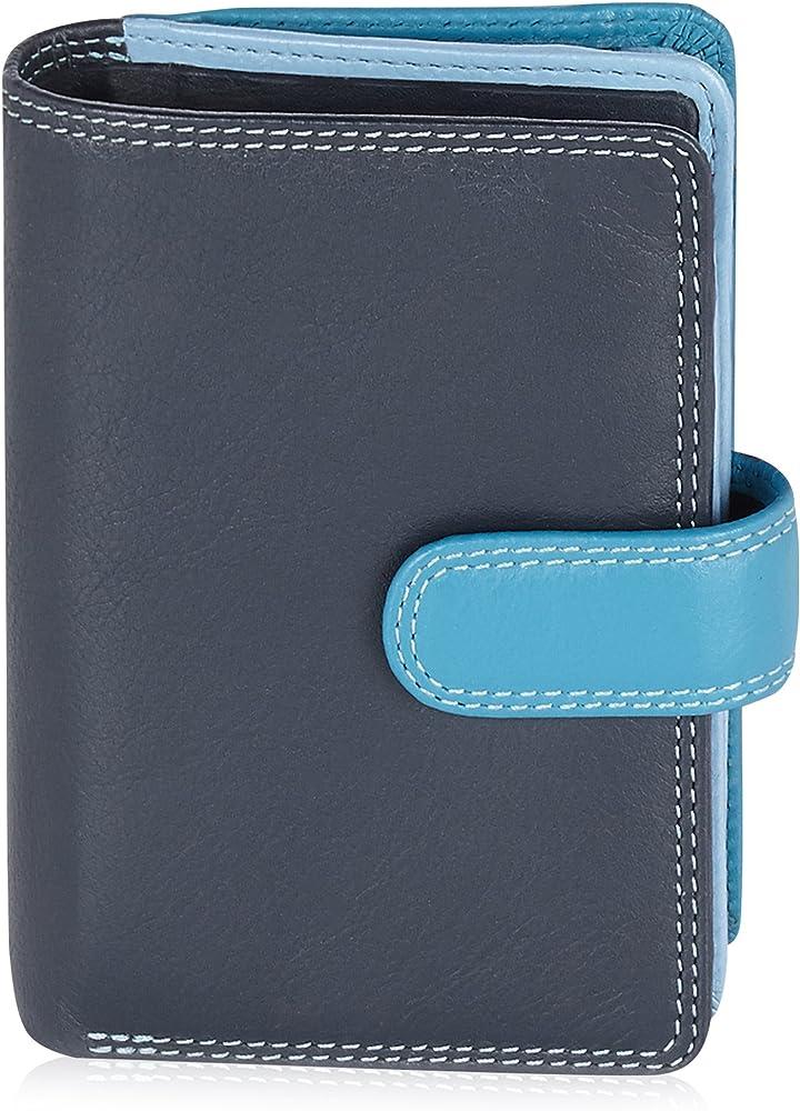 Visconti portafoglio, porta carte di credito di pelle, da donna, a piegatura doppia , protezione rfid, blu