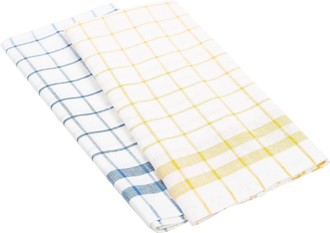 Kitchen Towels Set Of 2 Linen Cotton Blend 20x28 Blue Yellow