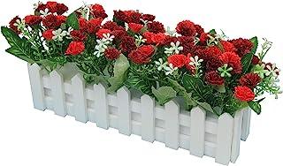 Flikool Carnations Fleurs Artificielles avec Clôture Truqué Plantes Artificielles in Pot Simulation Potted Bonsai Faux Flo...