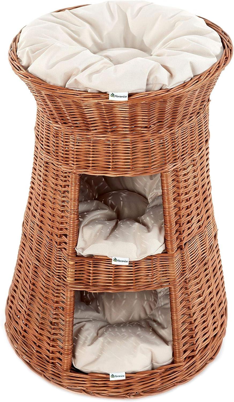 lo último Casa Mascotas, Torre para gato de sauce, mimbre europeo con con con 3 almohadas, Cojín Color claras;Cat tower model nature tower  tienda en linea
