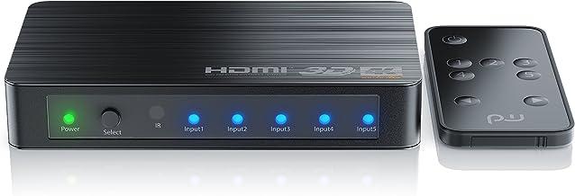 Conmutador HDMI UHD de 5 Puertos de Primewire con Mando a Distancia- HDMI-Switch - 5X IN 1x out - UHD 4k - Incl. Pantalla LED - HDR - Admite 3D - HDCP - 48 bit Deep Color - Auto Switch