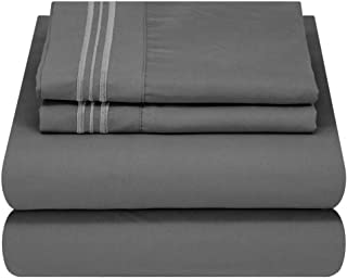 Mezzati Soft and Comfortable Waterbed Sheets Set - 1800 Prestige Brushed Microfiber Collection Bedding Queen Attached Grey...