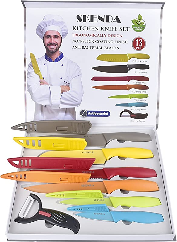 Color Kitchen Knife Set Colorful 6 Premium Steel Knives With Sheaths 13 Pcs Culinary Kitchen Knives Set Santoku Chef Bread Carving Paring Utility Knife And Peeler Free E Books