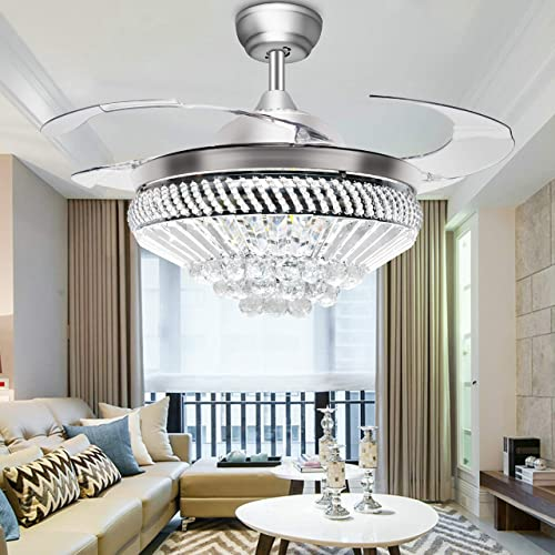 Charming TiptonLight Modern Ceiling Fans With Light, Remote Control Crystal  Chandelier Ceiling Fans 44Inch Home Decorative