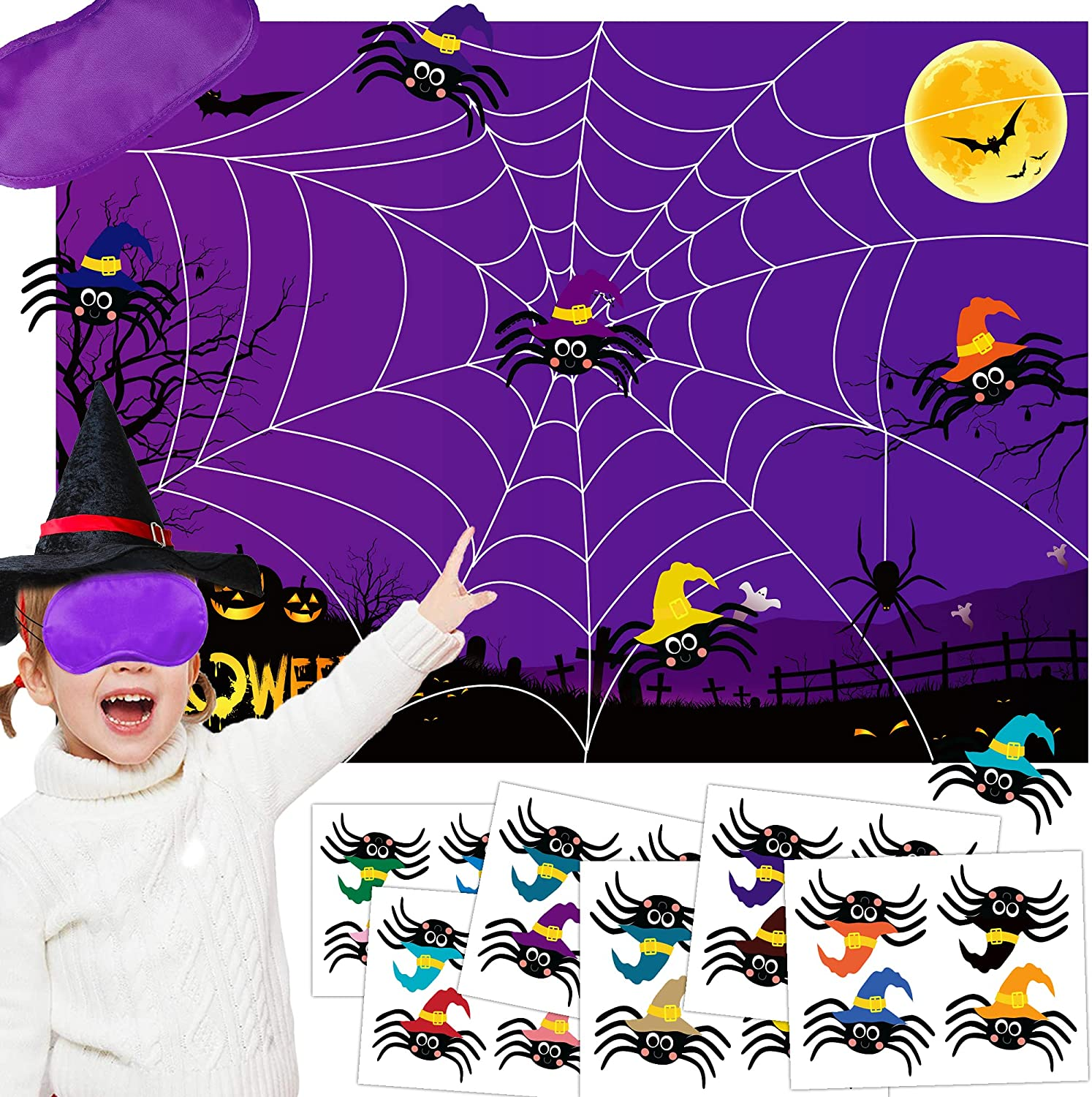 Buy Pin The Spider On The Web Game Halloween Party Games for Kids ...