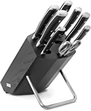 Wüsthof Messenblok, 8-delig, Classic Ikon (9880), 6 koksmessen van 9 tot 23 cm, keukenschaar, aanzetstaal, hout essenhout zwart