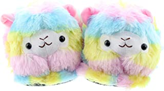 JFH Alpaca Rainbow Stripe Cute Fuzzy Feet Llama Animal Slippers House Shoes