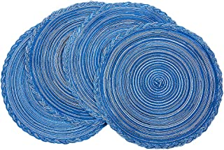 Round Placemats 15 Inch Table Mats for Dining Tables Set of 4 Heat Resistant Woven Cotton Table Placemats Washable (R-Blue)