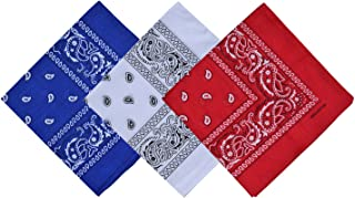 Paisley 3 piece Assorted Cowboy Bandanas Cotton 22 x 22 inch