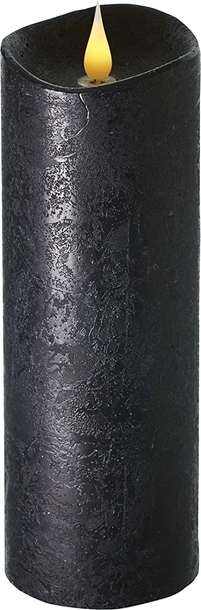 漫画ボリューム極地エンキンドル 3D LEDキャンドル ラスティクピラー 直径76×高さ235mm ブラック