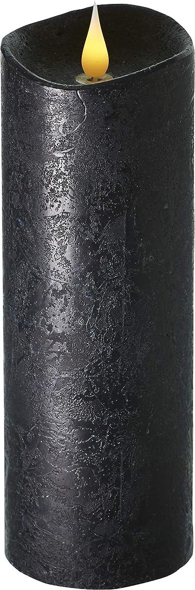 ポータル理容師時々時々エンキンドル 3D LEDキャンドル ラスティクピラー 直径76×高さ235mm ブラック