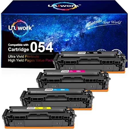 Uniwork Compatible Toner Cartridge Replacement for Canon 054 Cartridge 054H CRG 054 use for Color Image Class MF644Cdw LBP622Cdw MF642Cdw MF640C MF641Cw LBP620 Printer (Black, Cyan, Magenta, Yellow)